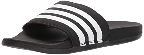 adidas Women's Adilette Comfort Slide Sandal, Black/White/Black, 8 M US