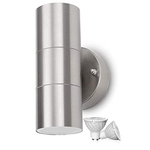 LAIDEPA Aplique Pared Exterior,Lámpara LED de Pared,con GU10 IP44 Impermeable Luz Exterior Interior/Exterior, Ideal para baño, Pasillo,Warm Light