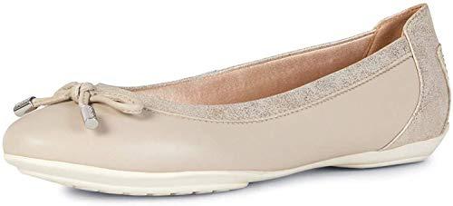 Geox Mujer Bailarinas, Merceditas D Charlene, señora Bailarinas Clásicas, Zapatos Planos,Zapatos del Verano,Elegante,Beige/LT Gold,37 EU / 4 UK