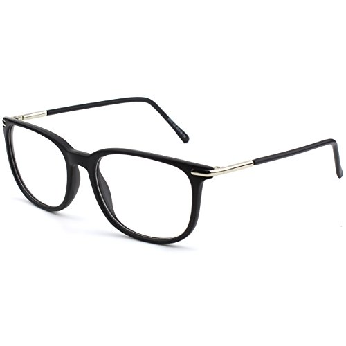 GQUEEN 201579 Fashion Metal Temple Horn Rimmed Clear Lens Glasses,Matte Black