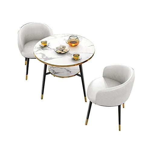 Krzesło kombinowane Metalowe nogi Krzesła do salonu, biuro sprzedaży Casual Negocjuj marmurowy mały okrągły stół i 3-częściowy zestaw skórzanych krzeseł z wosku olejowego (kolor: biały)