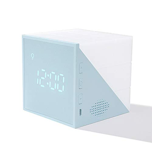 niumanery Cube Night Light Alarm Clock USB Rechargeable Table Lamp Digital Clock for Home Blue