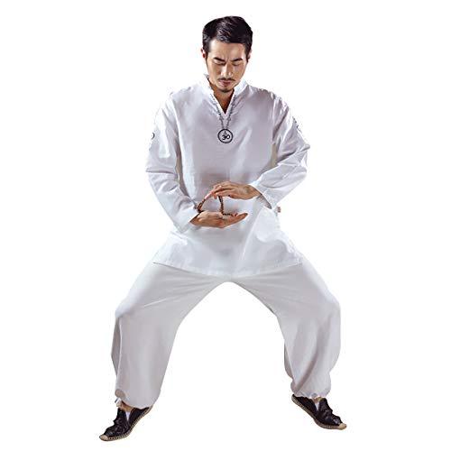 KSUA Traje de Yoga para Hombre con OM Diseño Algodón Zen Traje de meditación Ropa de Artes Marciales de Tai Chi Uniforme Mangas largas, Blanco EU S/Etiqueta M