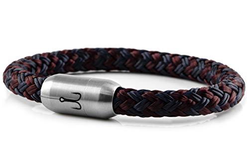 Fischers Fritze Armband Segeltau Makrele Marineblau dunkelrot - Handgemacht im Geschenkkarton I Maritim & Wasserfest, 21.0