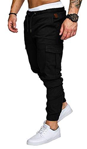 Calça cargo masculina OTW Jogger Plus Size casual cintura elástica calça de moletom, Preto, 3XL