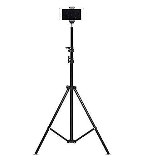 Tygot Lightweight & Portable Portable 7 Feet (84 Inch) Long Tripod Stand with Adjustable Mobile Clip Holder for All Mobiles & Cameras (Black)