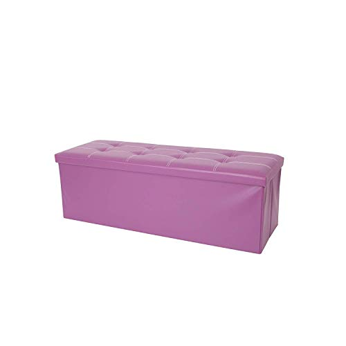 Rebecca Mobili Pouf Repose-Pieds simili Cuir, Banc Recipient Violet, double simili Cuir – Dimensions: 38 x 110 x 38 cm (HxLxL) - Art. RE4913
