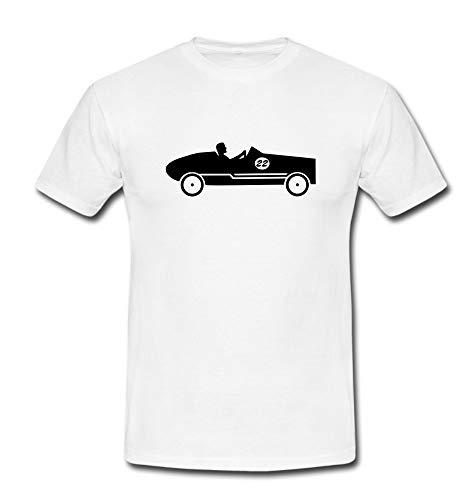 T-Shirt Seifenkiste Seifenkistenwagen Seifenkistenrennen Soap Box Pine Wood Car weiß/schwarz Gr. S