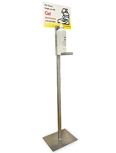 Dispensador de Pie para Gel Hidroalcohólico Desinfectante de Manos para Comercios, Empresas, Oficinas. INCLUYE EL GEL DE 1 LITRO