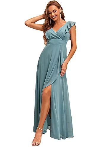 Ever-Pretty Fendue 0208 - Vestito da sera da damigella d'onore lungo da donna, scollo a V, senza maniche, con volanti, Blu fumé, 46