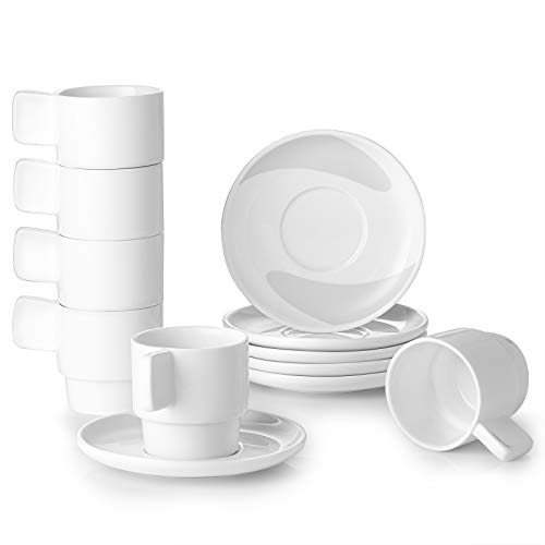 DOWAN Espresso Cups with Saucers, 4 Ounce White...