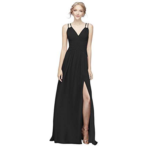 David's Bridal Plunging V-Neck Crinkle Chiffon Bridesmaid Dress Style F19837, Black, 2