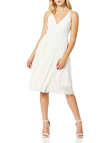Dress the Population Women's Alicia Plunging Mix Media Sleeveless Fit and Flare Midi Dress, Off White, M