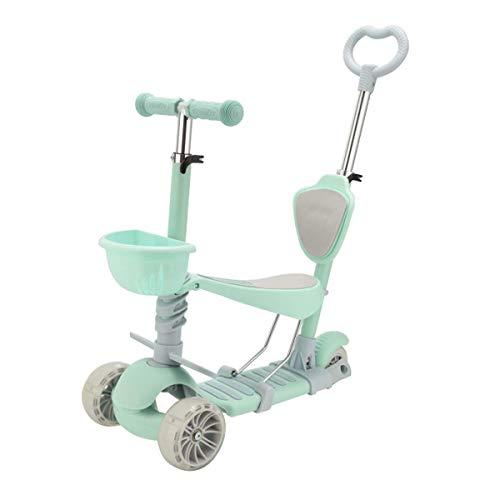 SZNWJ Ygqtbc 5-en-1 |3 Ruedas Kick Scooter con el Asiento extraíble for niños y niños pequeños, el Parpadeo Ruedas, for los niños niñas en Edad Mayores de 3 años (3-8) (Color : Green)