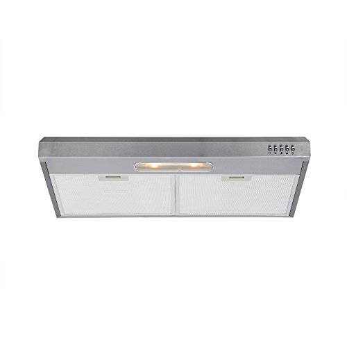 Range Hood 30 inch Under Cabinet Ducted in Stainless Steel, 350 CFM Slim Kitchen Stove Vent Hood with 3 Speed Exhaust Fan, Top or...