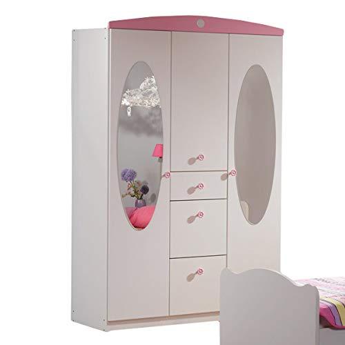 Kleiderschrank 3 Türen B 136 cm weiß/rosa Jugend Kinderzimmer Mädchen Drehtürenschrank Wäscheschrank Spiegelschrank