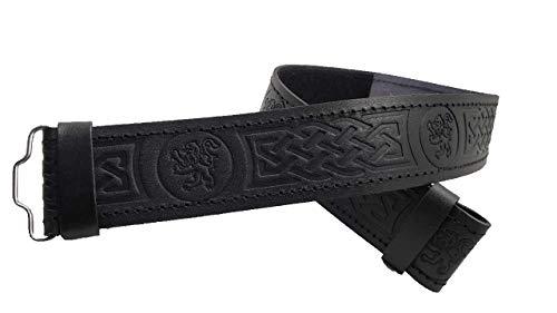AAR Kilt Belt for Men Leather Black Rampart Lion Embossed Design Scottish Highland S-2XL