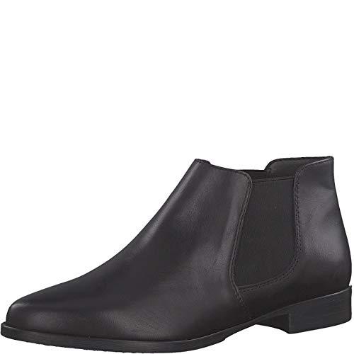 Tamaris Damen Stiefeletten 25097-24, Frauen Chelsea Boots, Freizeit leger Stiefel halbstiefel Bootie Schlupfstiefel flach,Black Leather,38 EU / 5 UK