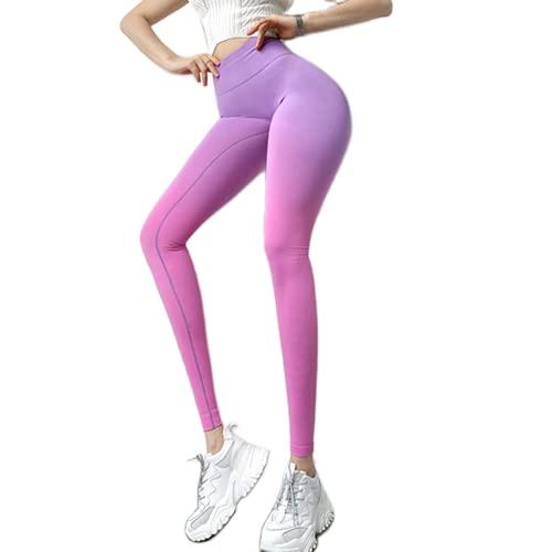 QTJY Pantalones de Yoga con gradiente sin Costuras, Leggings Deportivos para Correr de Cintura Alta con Levantamiento de Caderas, Leggings de Entrenamiento de Gimnasia G Large