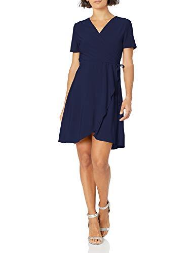 Star Vixen Women's Petite Short Sleeve Ballerina Wrap Dress, Navy, PM