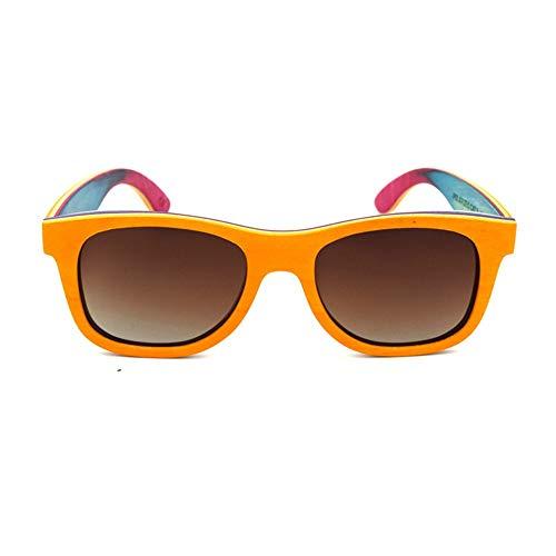 N/F TEYUN Holzbrille, klassisch, modisch, hochwertig, polarisiert, Unisex, Farbe: Orange/Braun