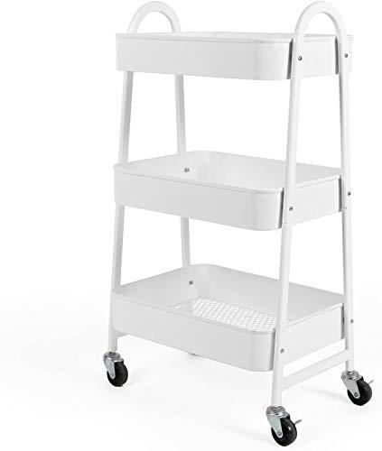 Carrito de almacenamiento, carro de almacenamiento, 3 niveles con gran almacenamiento y ruedas de metal para oficina, cocina, dormitorio, baño, color blanco