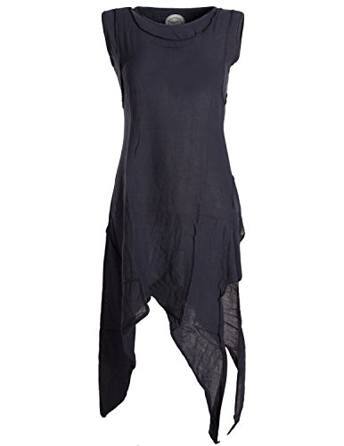 Vishes - Alternative Bekleidung - Asymmetrisches armloses Lagenlook Zipfelkleid schwarz 36