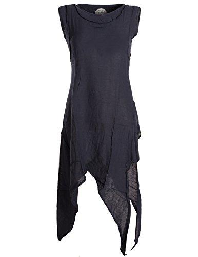 Vishes - Alternative Bekleidung - Asymmetrisches armloses Lagenlook Zipfelkleid schwarz 48