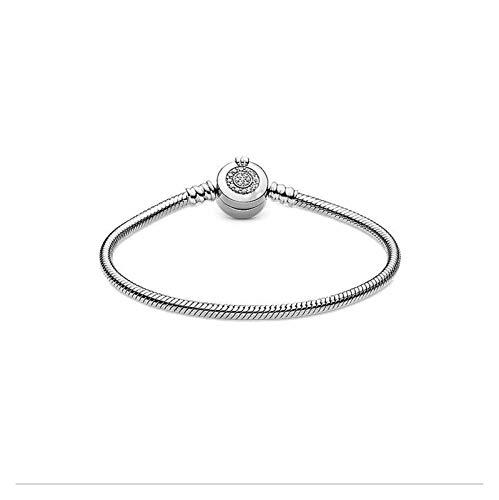 LNSTORE 925 Pulsera de la Cadena de la Cadena de la Serpiente de Plata de Ley 925 Brochiny Rose Gold Crown Ornament Bead Jewelry 16-21cm Exquisito y Hermoso (Color : Silver, Size : 16vm)