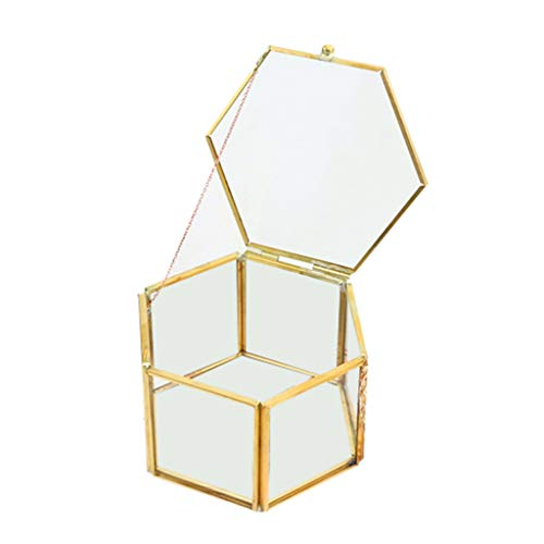 Sulifor Crafts geometrische Glas Blume Zimmer Kupfer Rand offene Abdeckung schmuck aufbewahrungsbox ewige Blume Glas geschenkbox