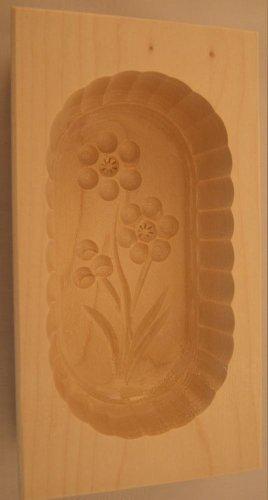 Hofmeister Holzwaren Moule à Beurre Square 14x7,6x4,3 cm pour 125 g avec Motif (Fleur E)
