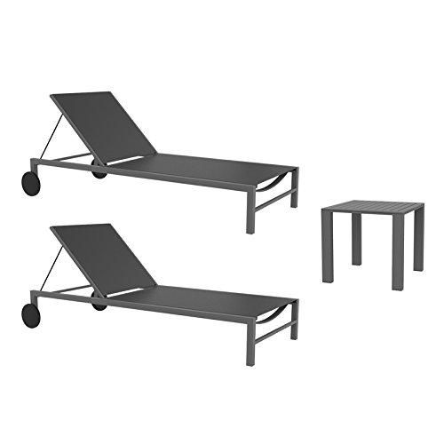 resol set de 2 tumbonas jardín exterior Cubic y 1 mesa auxiliar Cubic
