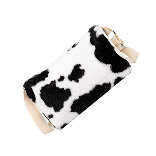Amosfun Schöne Umhängetasche Plüsch Umhängetasche Geldbörse Handtasche Plaid Kuh Zebra Umhängetasche Schulranzen Taschenbuch für Frauen Arbeitsreisen