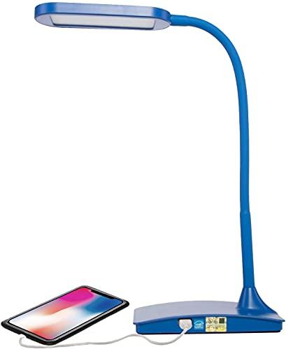 Derybol Encendiendo DIRIGIÓ Lámpara de Escritorio con USB Puerto, Interruptor táctil de 3 vías, Blanco (Color : Azul)