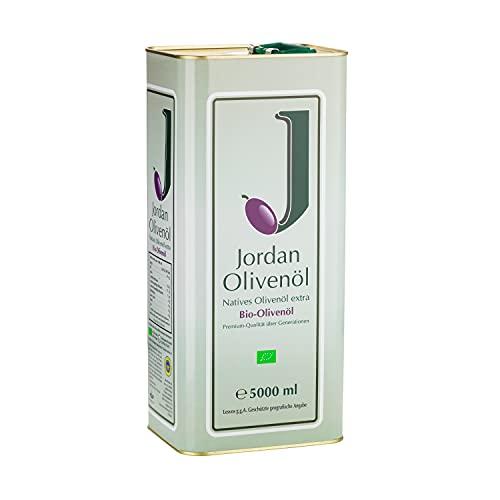 Jordan BIO-Olivenöl - Natives Olivenöl Extra von der griechischen Insel Lesbos - traditionelle Handernte - Kaltextraktion am Tag der Ernte - Kanister im traditionellen Retro-Design mit Ausgießer - 5,00 Liter / DE-ÖKO-037