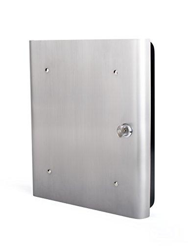 Unbekannt Pavo Premium Design Edelstahlfronttür, 54 Haken mit seitlichem Schlüsseleinwurf, Metall/Schwarz Schlüsselkast/Schlüsselschrank, 30 x 6 x 24 cm