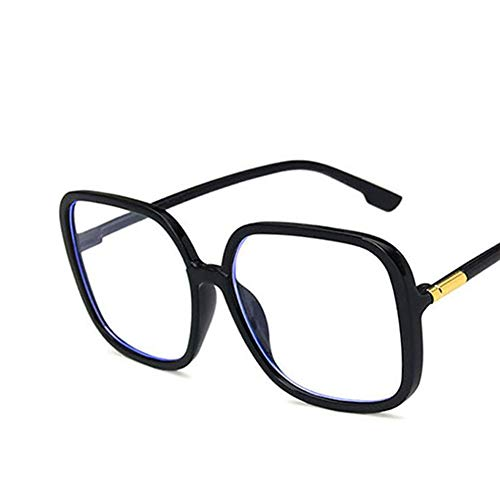 RONSHIN Fashion Spectacles Large Frame Square-framed Chic Decorative Anti Blu-ray Glasses Bright black and white lens