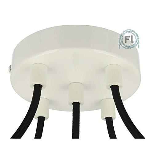Flairlux All-in-One Baldachin für Lampe 5 Loch Metall weiß rund 120x25mm inkl Wago Klemmen, Klemmnippel zylindrisch