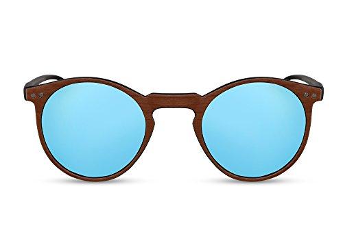 Cheapass Runde Sonnenbrille Holz Braun Blau Verspiegelt-e Brille UV-400 Plastik Damen Herren