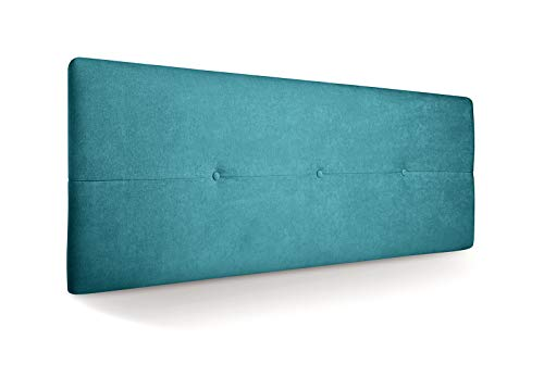 SUENOSZZZ - Cabecero de Madera Jazmin, tapizado Acolchado, en Tela Rio17 Color Turquesa Cabeceros Madera para Dormitorio | Cama Matrimonio | Cama Juvenil | Camas de 140 cm, 135 cm, 120 cm