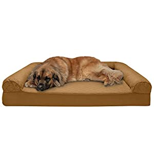 Furhaven Pet Dog Bed – Memory Foam Quilted Traditional Sofa-Style Living Room Couch Pet Bed with Removable Cover for Dogs and Cats, Toasted Brown, Jumbo Plus