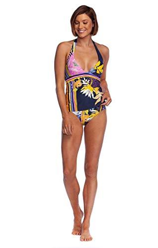 Trina Turk Women's V-Neck Halter Tankini Swimsuit Top, Black//Bali Harbor Floral, 8