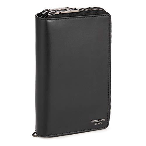 Berliner Bags Premium Dallas Brieftasche Organizer aus Leder Geldbörse für Damen und Herren mit RFID-Schutz (Schwarz)