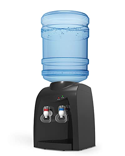 UMOMO Top Loading Water Cooler Dispenser, 3 or 5 Gallon Bottle, Hot & Cold Water, Anti-Scalding Design, for Home and Office Use, Black(Water Bottle NOT Included)