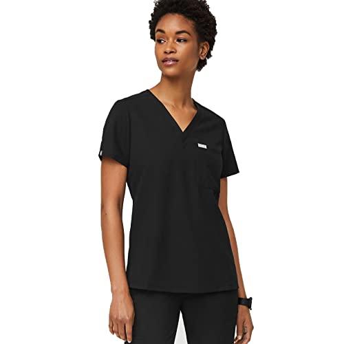 FIGS Catarina One-Pocket Scrub Top for Women – Black, S