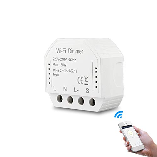 Interruptor de regulador de intensidad de luz LED inteligente WiFi DIY Smart Life/Tuya APP mando a distancia 1/2 modo interruptor, funciona con Alexa Echo Google Home (1c dimmer)