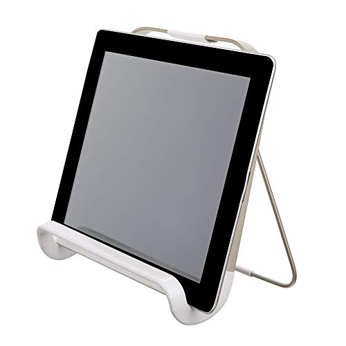 iDesign Supporto tablet e libri di ricette, Leggio da tavolo in metallo per piano da lavoro cucina, Porta tablet ideale per cucinare e leggere ricette, argento opaco bianco opaco