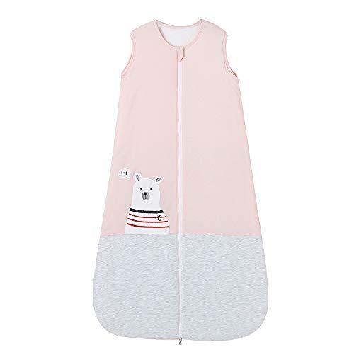 Saco de dormir para bebé, invierno, con mangas, 2,5 tog, para niños de 0 a 10 años, 110 cm, 24 a 36 meses, oso polar, color rosa, gris
