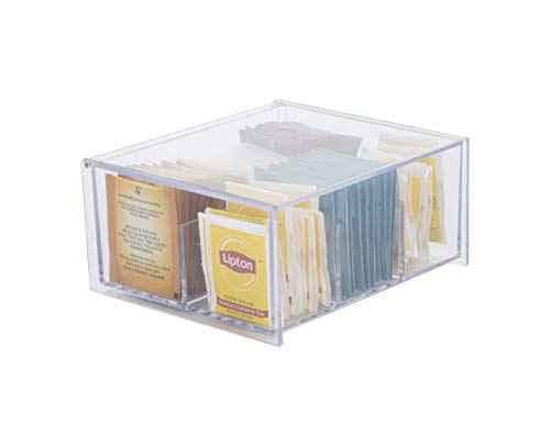 Mind Reader Acrylic Storage & Organizer 6 Compartment Tea Bag Holder with Lid, Pantry Organizer for Kitchen, Clear, Clear Chest, Clear Chest -  TEA6C-CLR