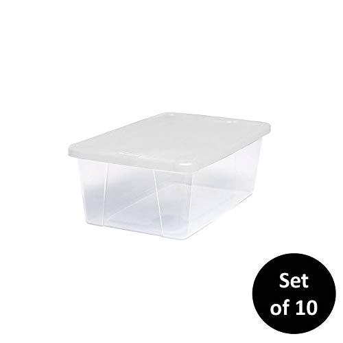 HOMZ塑料储物箱,扣锁白色盖子,6夸脱,清晰,可堆叠,10包